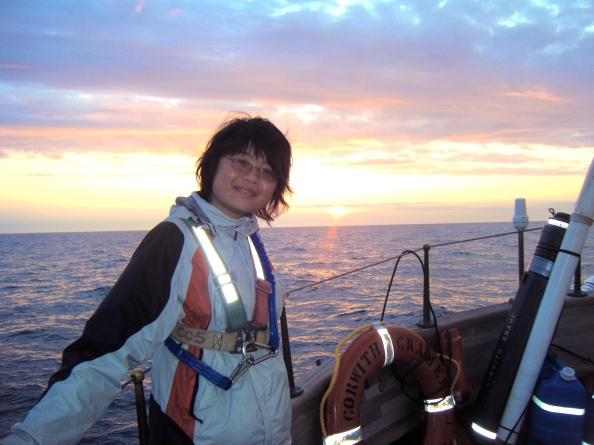 The Author at sea on the SSV Corwith Cramer.