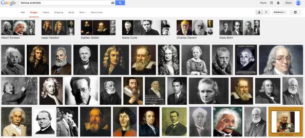 Figure 2. Google search of famous scientists (Note some of the beards, though... and also Isaac Newton's fabulous do).