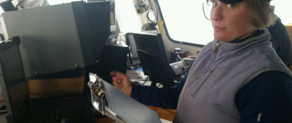 Skylar out at sea helping with scallop video surveys!